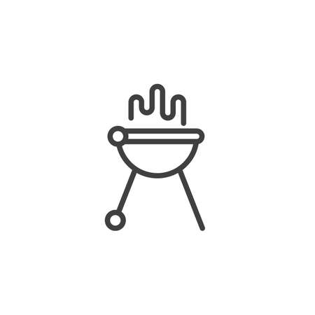 Barbecue grill line icon. linear style sign for mobile concept and web design. BBQ grill outline vector icon. Symbol,   illustration. Vector graphics  イラスト・ベクター素材