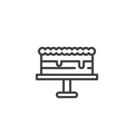 Cake on stand line icon. linear style sign for mobile concept and web design. Wedding cake outline vector icon. Symbol,   illustration. Vector graphics