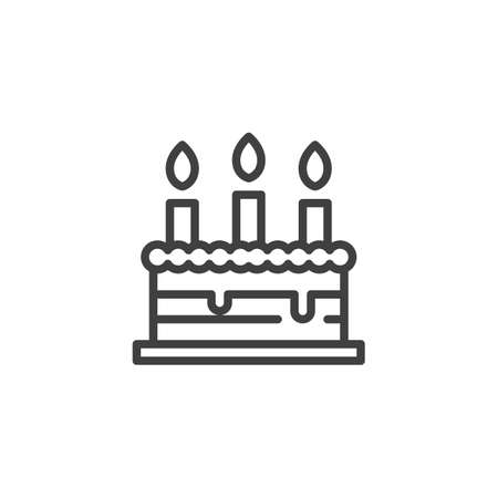 Birthday cake line icon. linear style sign for mobile concept and web design. Cake with three candles outline vector icon. Symbol,   illustration. Vector graphics