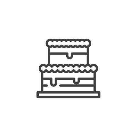 Two tier cake line icon. linear style sign for mobile concept and web design. Wedding cake outline vector icon. Symbol,   illustration. Vector graphics
