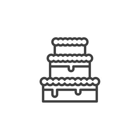 Three tier cake line icon. linear style sign for mobile concept and web design. Wedding cake outline vector icon. Symbol,   illustration. Vector graphics  イラスト・ベクター素材