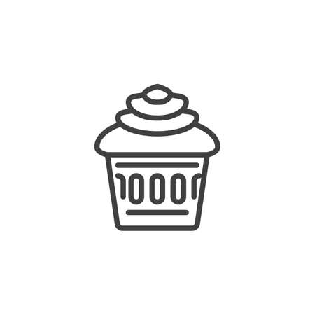 Cupcake line icon. linear style sign for mobile concept and web design. Cup cake outline vector icon. Symbol,   illustration. Vector graphics  イラスト・ベクター素材