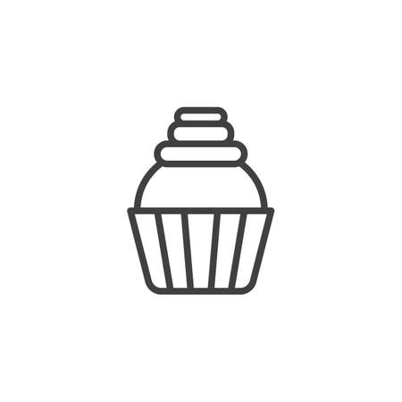 Muffin cake line icon. linear style sign for mobile concept and web design. Cupcake outline vector icon. Symbol,   illustration. Vector graphics
