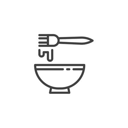 Beating egg with fork line icon. linear style sign for mobile concept and web design. Cooking, baking outline vector icon. Symbol,   illustration. Vector graphics