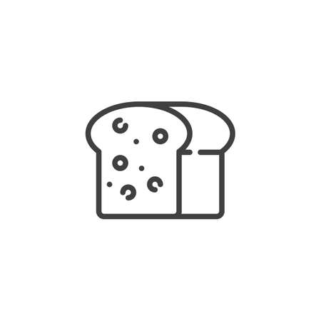 Square Bread line icon. linear style sign for mobile concept and web design. Rye bread outline vector icon. Symbol,   illustration. Vector graphics