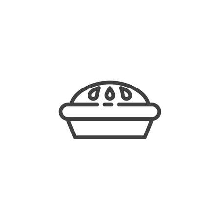 Jam pie line icon. linear style sign for mobile concept and web design. Pie cake outline vector icon. Symbol,   illustration. Vector graphics