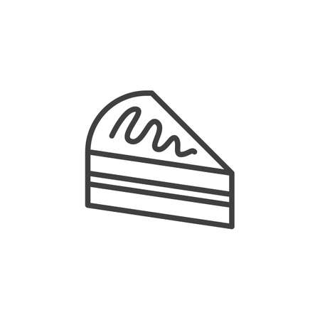 Piece of cake line icon. linear style sign for mobile concept and web design. Cake slice outline vector icon. Symbol,   illustration. Vector graphics  イラスト・ベクター素材