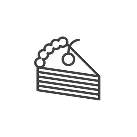 Piece Of Cake with berry line icon. linear style sign for mobile concept and web design. Cherry cake slice outline vector icon. Symbol,   illustration. Vector graphics