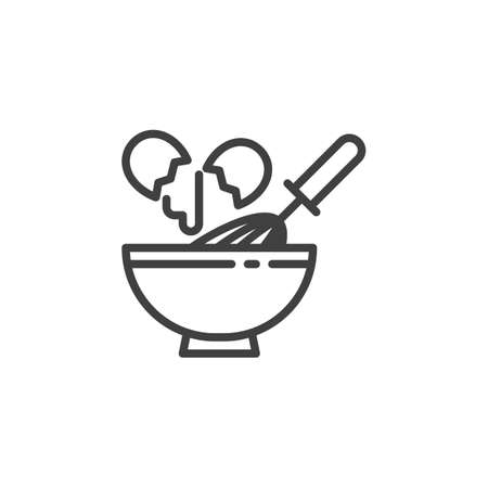 Egg beating line icon. linear style sign for mobile concept and web design. Cooking with egg beater whisk and bowl outline vector icon. Symbol,   illustration. Vector graphics