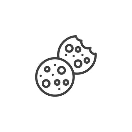 Bitten and whole cookie line icon. linear style sign for mobile concept and web design. Cookies Biscuit outline vector icon. Symbol,   illustration. Vector graphics