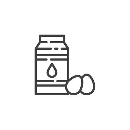 Oil bottle and eggs line icon. linear style sign for mobile concept and web design. Baking recipe ingredients outline vector icon. Symbol,   illustration. Vector graphics