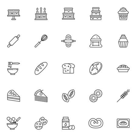 Bakery line icons set. linear style symbols collection, outline signs pack. vector graphics. Set includes icons as puff pastry, cooking cake, pie recipe, birthday cake with candle, cupcake, muffin