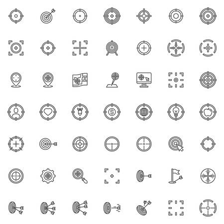 Target aim line icons set. linear style symbols collection, outline signs pack. Set includes icons as crosshair, archery arrow, focus frame, location targeting, sniper, center hit Иллюстрация