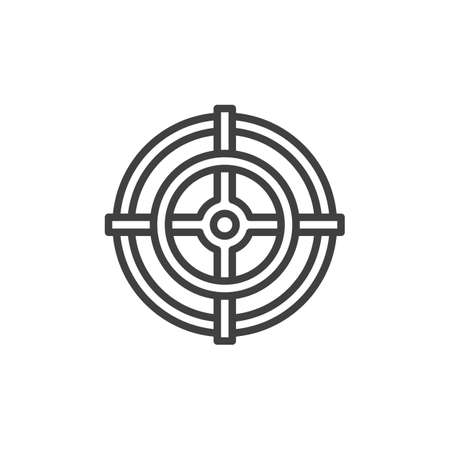 Gun crosshair line icon. Target linear style sign for mobile concept and web design. Sniper Aim outline icon. Çizim