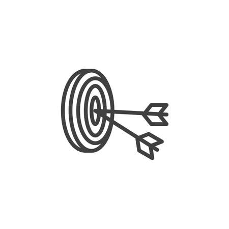 Arrows hit target line icon. linear style sign for mobile concept and web design. Archery target aim outline icon.