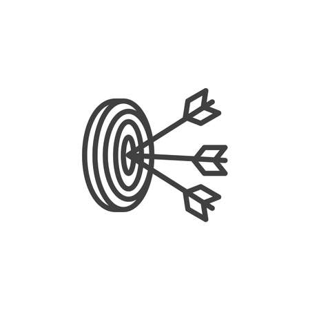 Three arrows hit target line icon. linear style sign for mobile concept and web design. Archery target aim outline icon. Goal and achievement symbol