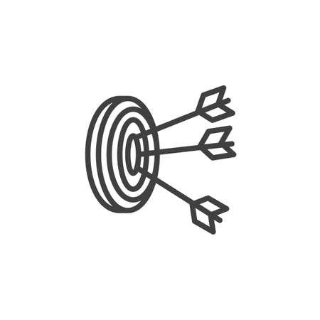 Archery target arrows line icon. linear style sign for mobile concept and web design. Three arrows hit target outline icon. Goal and achievement symbol Иллюстрация