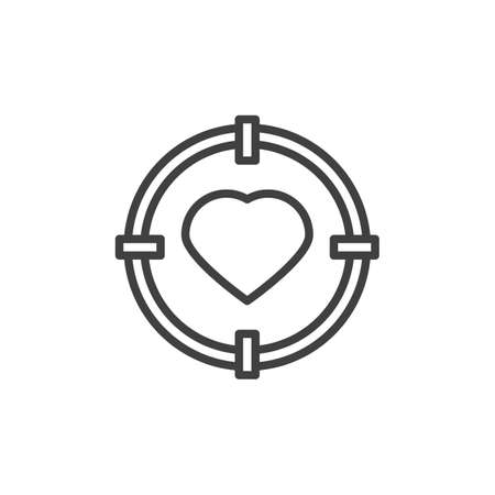 Heart in Target aim line icon. linear style sign for mobile concept and web design. Love focus outline icon.