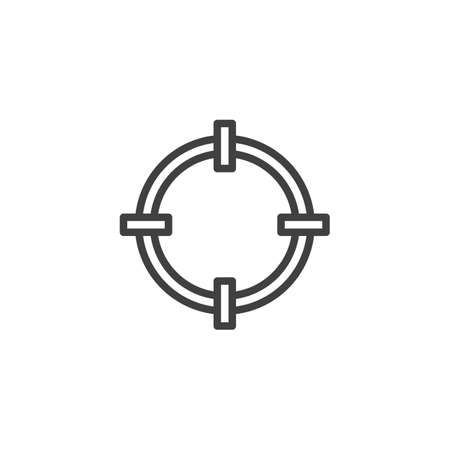 Gun target line icon. linear style sign for mobile concept and web design. Circle target outline icon. Çizim