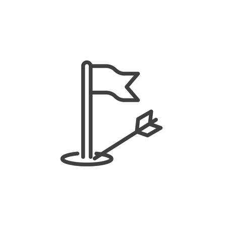 Golf flag arrow line icon. linear style sign for mobile concept and web design. Targeting golf hole outline icon. Иллюстрация