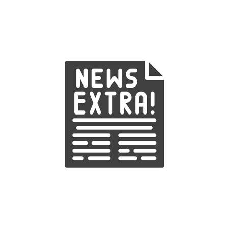 Extra news page icon. filled flat sign for mobile concept and web design. Newspaper article glyph icon.