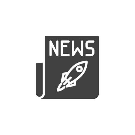 Spaceship rocket news icon. filled flat sign for mobile concept and web design. Newspaper with rocket glyph icon.
