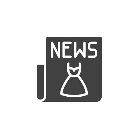 Fashion news article icon. filled flat sign for mobile concept and web design. Newspaper with a fashionable dress glyph icon.