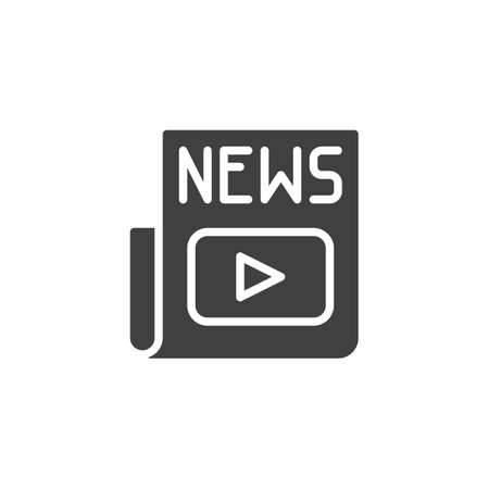 Media news headline  icon. filled flat sign for mobile concept and web design. Entertainment newspaper glyph icon.