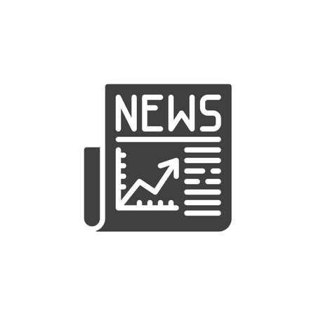 Financial news headline  icon. filled flat sign for mobile concept and web design. Business newspaper glyph icon.