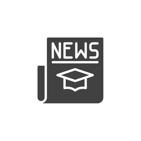 Education news headline  icon. filled flat sign for mobile concept and web design. Science newspaper glyph icon.