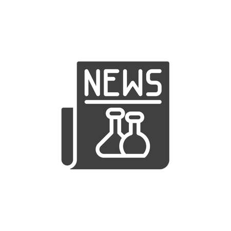 Science newspaper  icon. filled flat sign for mobile concept and web design. Biochemistry news glyph icon. Stock Illustratie