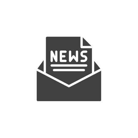 Newsletter mail icon. filled flat sign for mobile concept and web design. Envelope with new document file glyph icon.