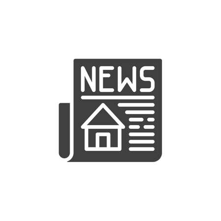 Property news headline icon. filled flat sign for mobile concept and web design. Newspaper with house publication glyph icon. Stock Illustratie