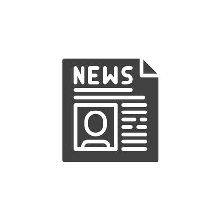 Political news headline icon. filled flat sign for mobile concept and web design. Newspaper publication glyph icon.