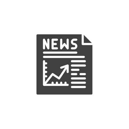 Financial news publication icon. filled flat sign for mobile concept and web design. News headline with business graph glyph icon.