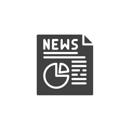Economic News publication icon. filled flat sign for mobile concept and web design. News headline with diagram glyph icon.