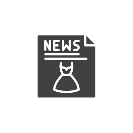 Fashion News publication icon. filled flat sign for mobile concept and web design. News headline with dress clothing glyph icon.