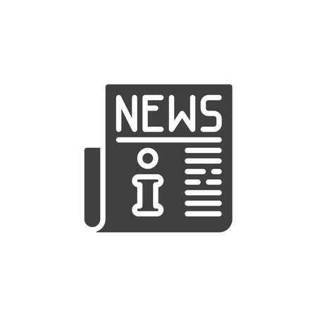 Info news publication icon. filled flat sign for mobile concept and web design. Information newspaper article glyph icon.