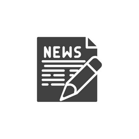 Writing news publication icon. filled flat sign for mobile concept and web design. News document with pen glyph icon.