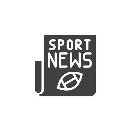 Rugby sport newspaper icon. filled flat sign for mobile concept and web design. American football news publication glyph icon.