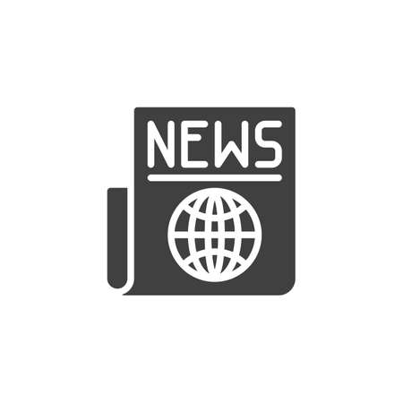 World news headline icon. filled flat sign for mobile concept and web design. Newspaper with globe glyph icon.