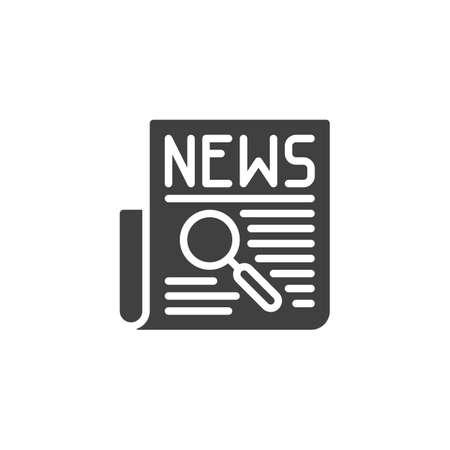 Wissenschaft Nachrichten Schlagzeilensymbol. gefülltes flaches Schild für mobiles Konzept und Webdesign. Zeitung mit Lupensymbol. Vektorgrafik