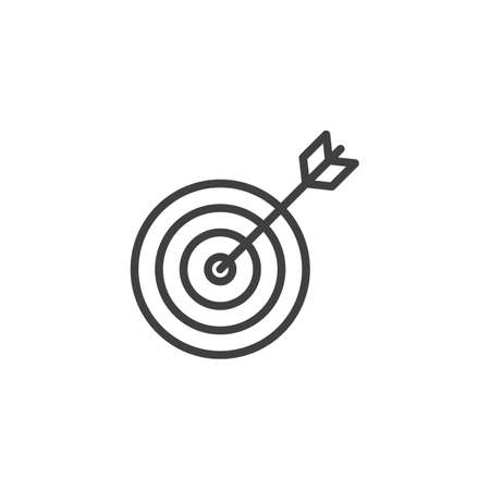 Target with arrow line icon. linear style sign for mobile concept and web design. Targeting outline vector icon.