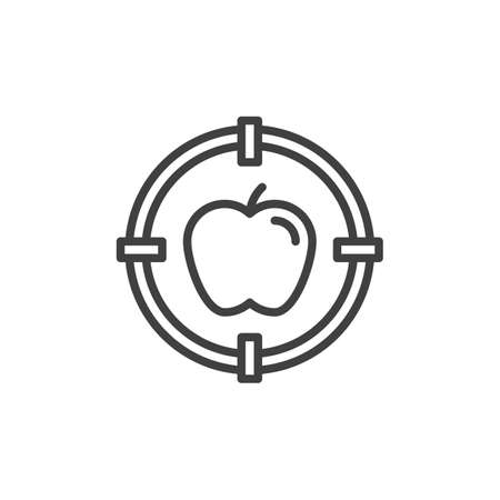 Apple with target line icon. linear style sign for mobile concept and web design. Apple targeting outline icon. Education symbol