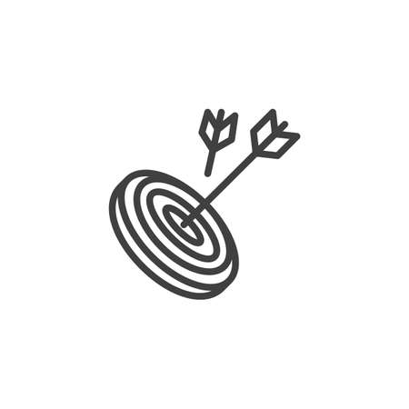 Archery arrows and target line icon. linear style sign for mobile concept and web design. Arrows hit target outline icon.