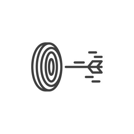 Arrow hit target line icon. linear style sign for mobile concept and web design. Arrow fly in target center outline icon.