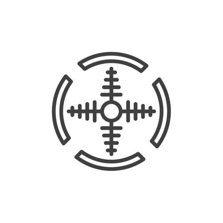 Military target line icon. linear style sign for mobile concept and web design. Circle target aim outline icon.
