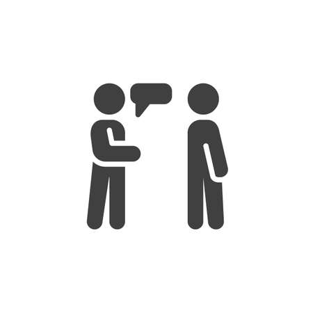 People conversation icon. Two men talking filled flat sign for mobile concept and web design. People relations glyph icon.