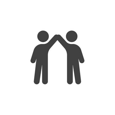 Two friends give five  icon. filled flat sign for mobile concept and web design. People greeting glyph icon.