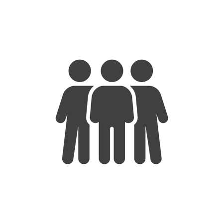 People friendship  icon. Teammates, brotherhood filled flat sign for mobile concept and web design. Three friend glyph icon.